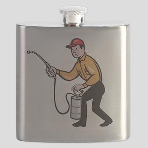 Pest Control Exterminator Worker Spraying Ca Flask