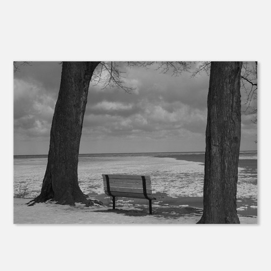 Black & White Park Bench Postcards (Package of 8)