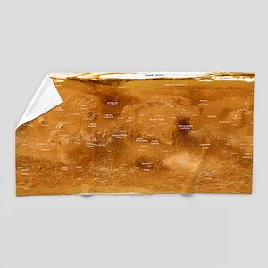 Mars topographical map, satellite imag Beach Towel