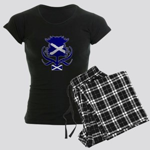 Scottish navy blue thistle Women's Dark Pajamas