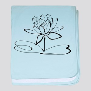 Sketch Outline of Lotus Blossom baby blanket