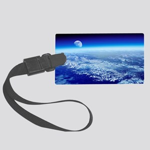 Moon rising over Earth's horizon Large Luggage Tag