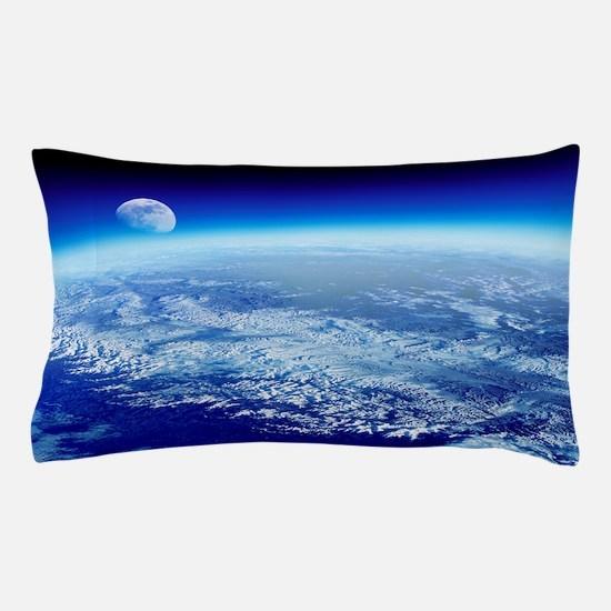 Moon rising over Earth's horizon Pillow Case