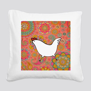 Paisley Chicken Square Canvas Pillow