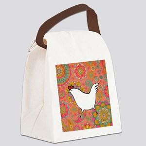 Paisley Chicken Canvas Lunch Bag
