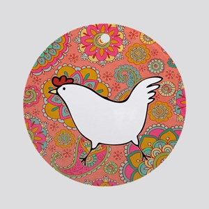 Paisley Chicken Round Ornament