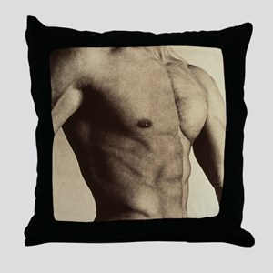 Nude man's torso Throw Pillow