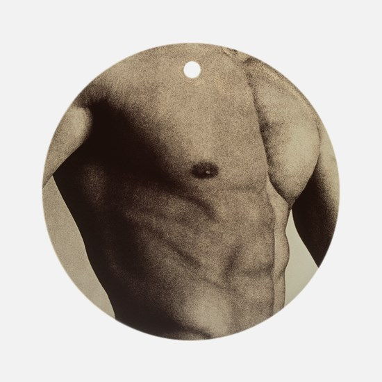 Nude man's torso Round Ornament