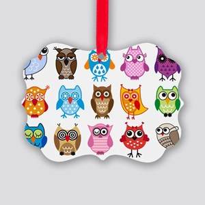 Colorful cute owls Picture Ornament