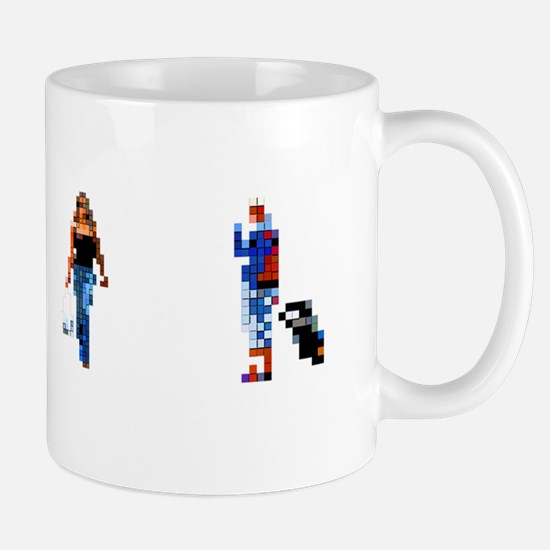 Pixellated humans, computer artwork Mug