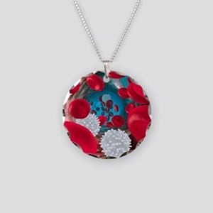 Red and white blood cells Necklace Circle Charm
