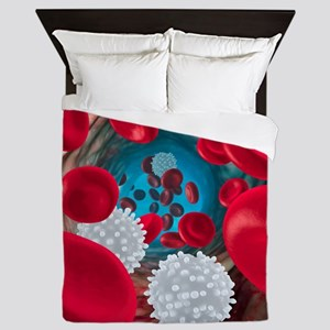 Red and white blood cells Queen Duvet