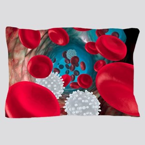 Red and white blood cells Pillow Case