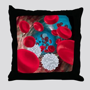 Red and white blood cells Throw Pillow