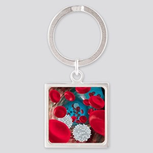 Red and white blood cells Square Keychain