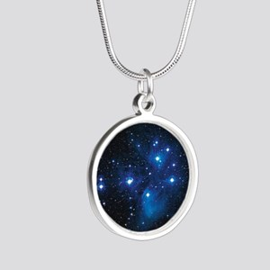 Pleiades star cluster Silver Round Necklace