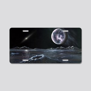 Pluto seen from Charon, art Aluminum License Plate