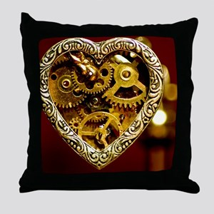 Clockwork Heart Throw Pillow