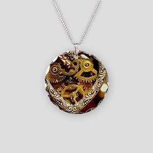 Clockwork Heart Necklace Circle Charm
