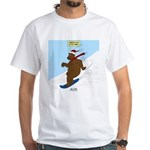 Snowboarding Bear White T-Shirt
