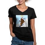 Snowboarding Bear Women's V-Neck Dark T-Shirt