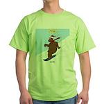 Snowboarding Bear Green T-Shirt