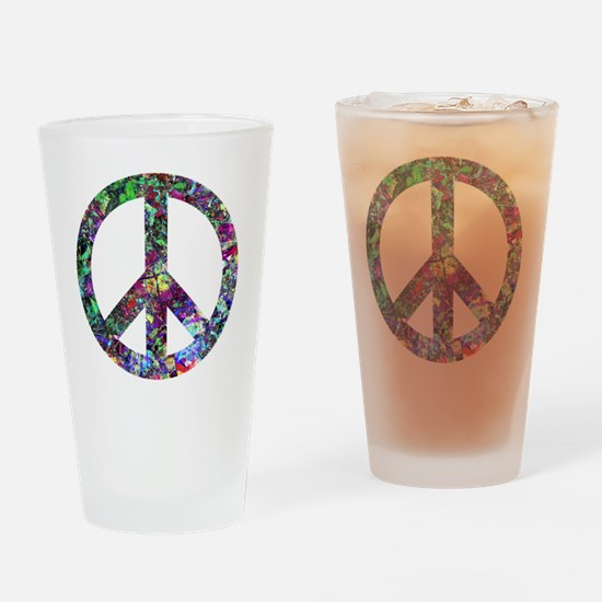 Colorful Peace Sign Drinking Glass