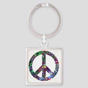Colorful Peace Sign Square Keychain