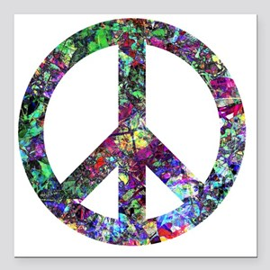 "Colorful Peace Sign Square Car Magnet 3"" x 3"""