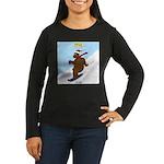 Snowboarding Bear Women's Long Sleeve Dark T-Shirt