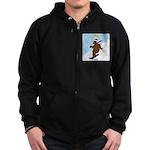 Snowboarding Bear Zip Hoodie (dark)
