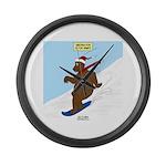 Snowboarding Bear Large Wall Clock