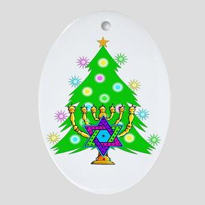 Christmas Hanukkah Interfaith Oval Ornament