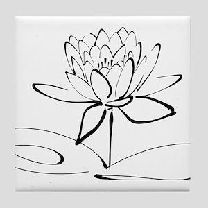 Sketch Outline of Lotus Blossom Tile Coaster