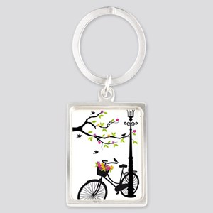 Old bicycle with lamp, flower ba Portrait Keychain