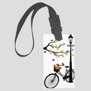 Old bicycle with lamp, flower ba Large Luggage Tag