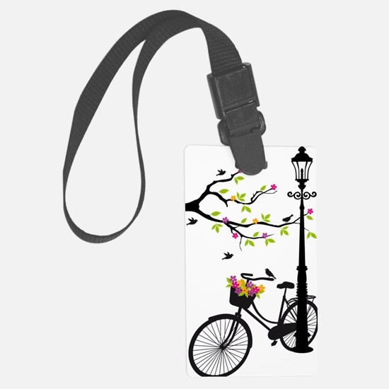 Old bicycle with lamp, flower ba Luggage Tag