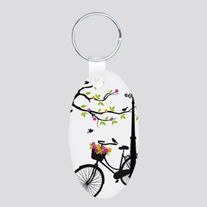 Old bicycle with lamp, flow Aluminum Oval Keychain