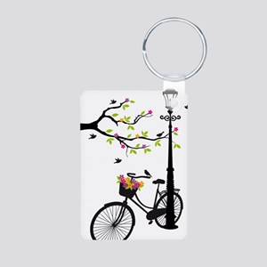 Old bicycle with lamp, flo Aluminum Photo Keychain