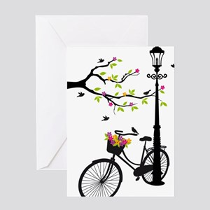 Old bicycle with lamp, flower basket Greeting Card