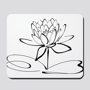 Sketch Outline of Lotus Blossom Mousepad