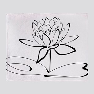 Sketch Outline of Lotus Blossom Throw Blanket