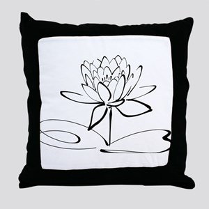 Sketch Outline of Lotus Blossom Throw Pillow