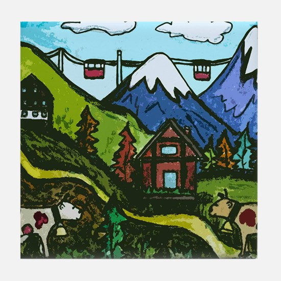 Swiss Cow Fun Tile Coaster