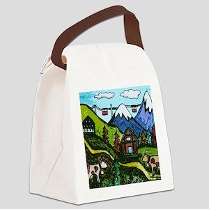 Swiss Cow Fun Canvas Lunch Bag