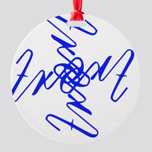 Trent Ambigram - Left side Royal Bl Round Ornament