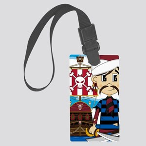 Turban Pirate and Ship Large Luggage Tag