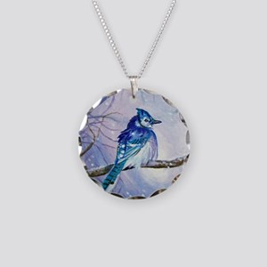Blue Jay Necklace Circle Charm