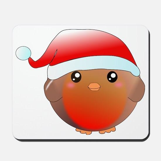 Christmas robin bird Mousepad