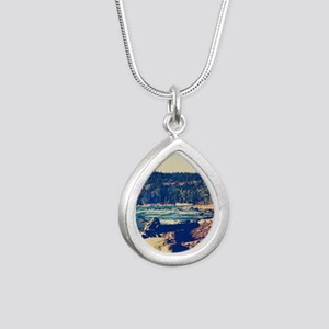 Rocky Shores of Lake Sup Silver Teardrop Necklace
